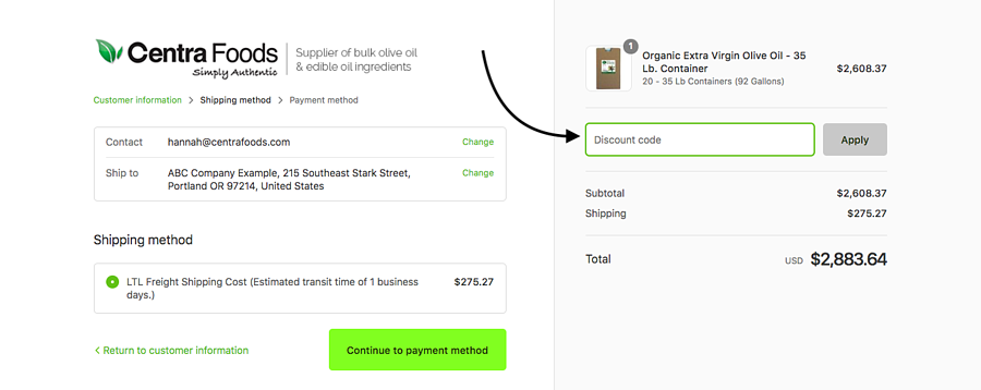 Enter your discount code to buy bulk olive oil online