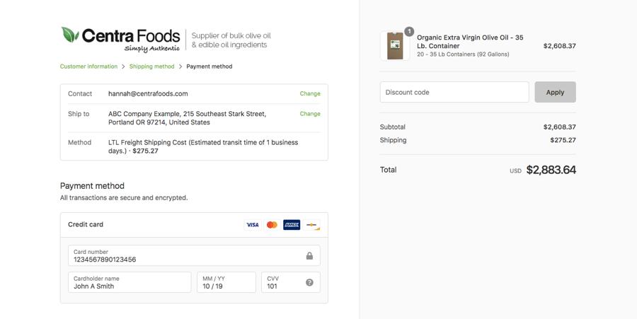 Add payment details for bulk olive oil order