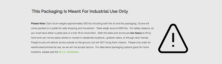 Industrial warning for drums and tote