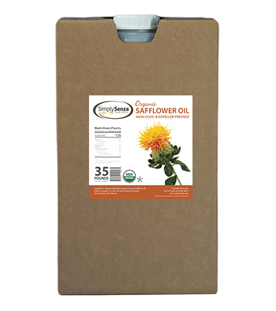 Organic Safflower Oil in 35 Lb. Containers Expeller Pressed Bulk