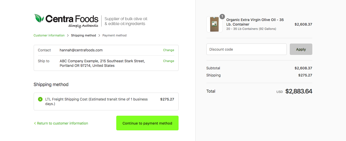 Calculating Shipping on the online store