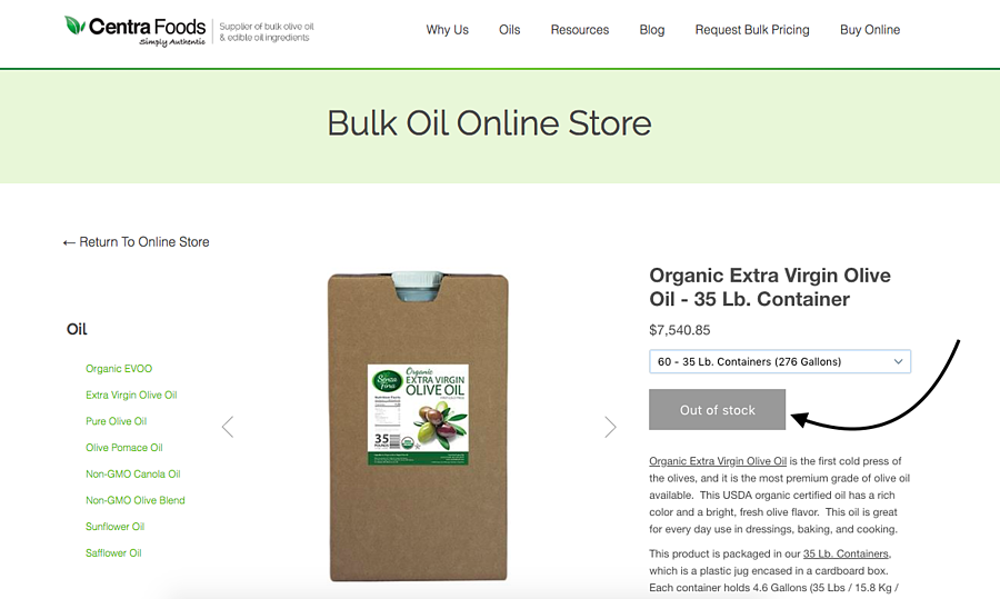 Out of stock item on online bulk oil store