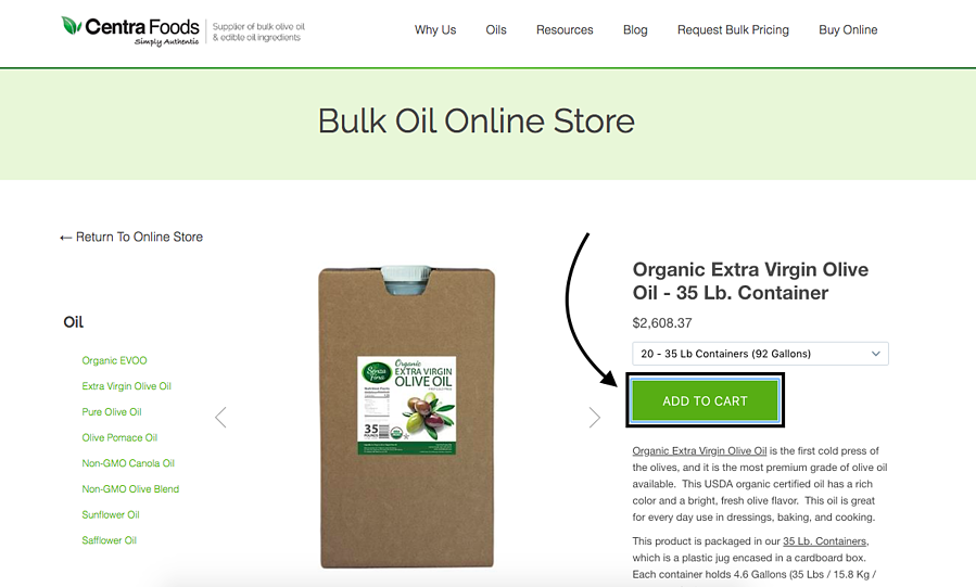 Add item to cart on online oil store - olive oil