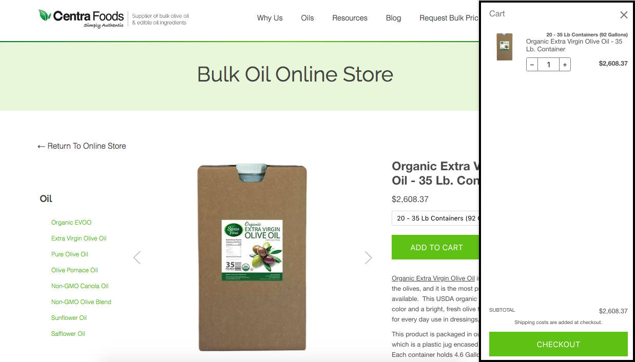 Cart in Online Store - Centra Foods