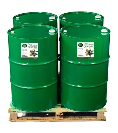 Organic Olive Oil in Industrial Drums for Food Manufacturing